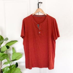 Banana Republic Soft Wash 1/4 Button Top Red